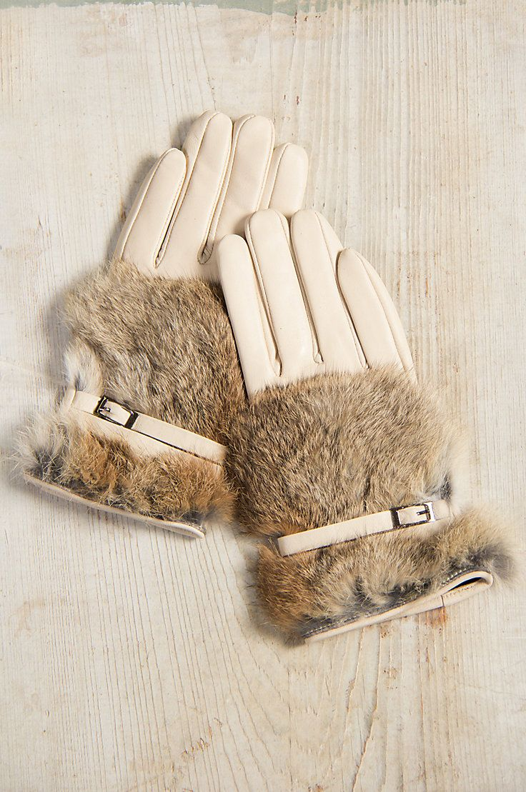 Womens leather gloves vancouver - Women S Lambskin Leather Gloves With Rabbit Fur Trim
