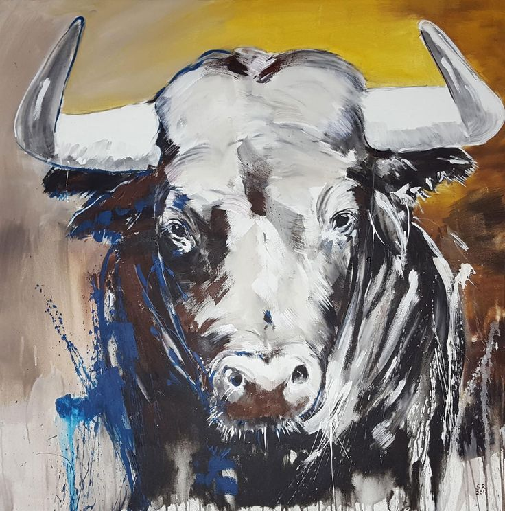 TAURUS – Portrait von einem Stier ** Direkt vom Künstler ab Atelier Unikate kaufen ✓ Malerei auf großformatiger Leinwand ** neo-expressiv, zeitgenössisch **