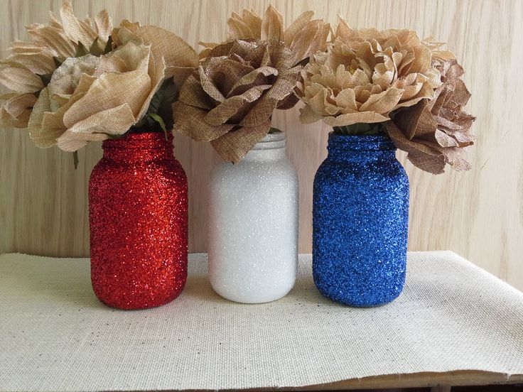 These patriotic Mason Jars in red, white & blue glitter are beautiful and could even be used again at Christmas. Love them!