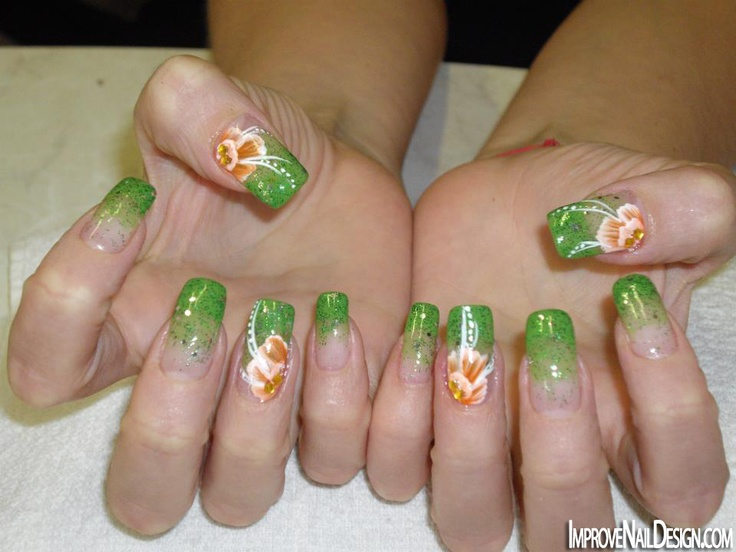 Acrylic Nails   Ombre nails glitter, Coral ombre nails, Nails