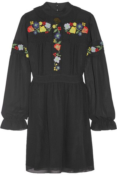Anna Sui - Embroidered Georgette Mini Dress - Black - US10