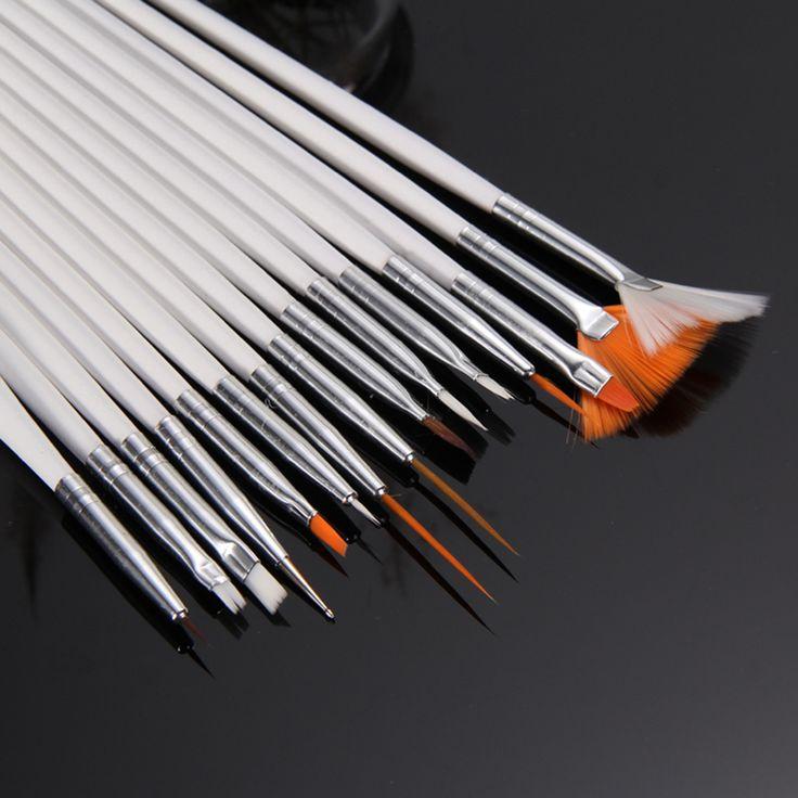 15 unids Profesional sistema de Cepillo de Pintura de Uñas Postizas Nail Art Decoraciones pluma Cepillos de Uñas de UV Gel Polaco Sorteo Herramientas Blanco Perla