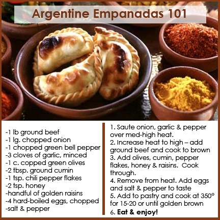 We love empanadas! Here's a simple & savory filling recipe that offers a taste of Argentina