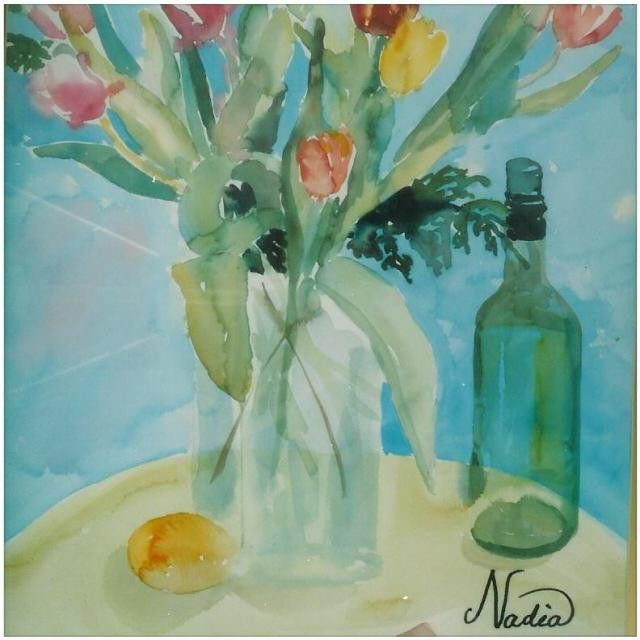 This #watercolor is called #flowerswithwine. It is still #available. You can purchase the #original, a #print or for a more customized option a #handembellishedprint. #Contact us for more details @nadia_art_gallery.