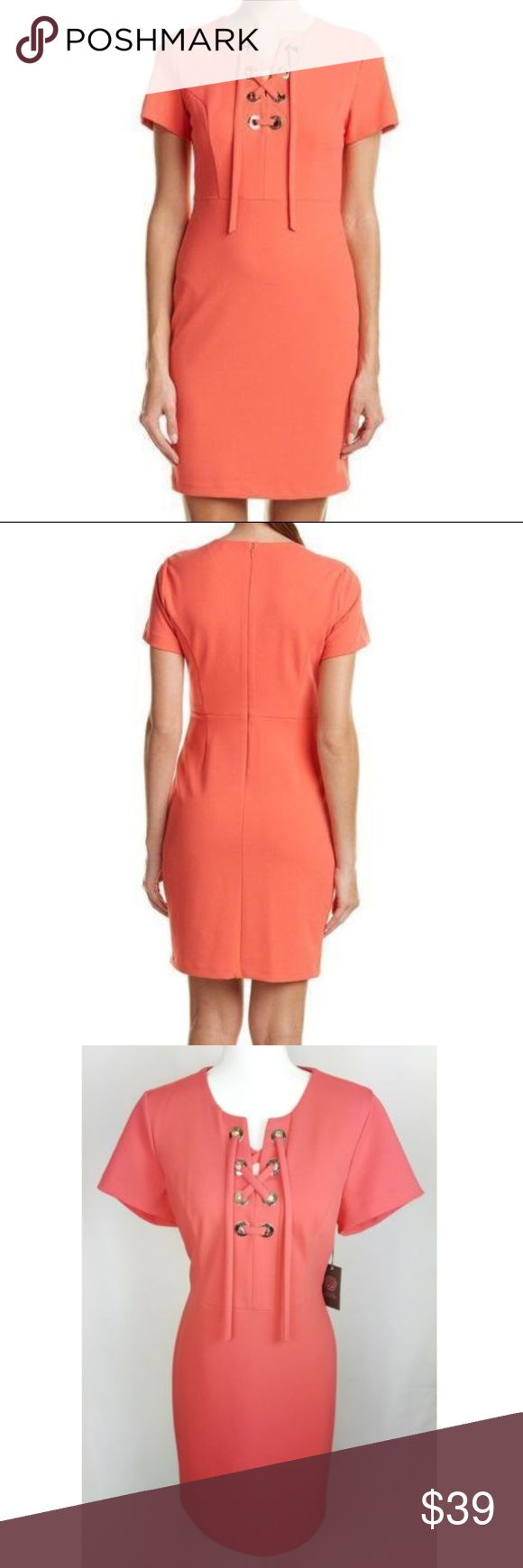 Vince Camuto Sheath Dress Coral Orange 10 Condition: New with tags:  Design Features:Grommets, Lace-up front Occasion: Party/Cocktail Color: Coral Orange Dress Length: Short Style: Sheath Dress Style Number: 9166918 Size (Women's): 10 Color Name:835 Coral Passion Style Name:Pacific Breeze Garment Care: Dry Clean Sleeve Length: Short Sleeve Measurements taken with item lying flat (inches) Chest: 19 Waist: 16 Sleeve: 7  Length: 36 Material: 94% polyester 6% elastane, lining 100%…