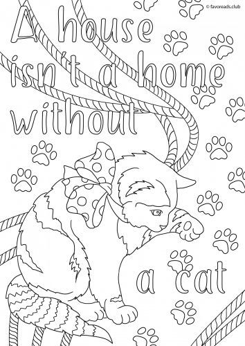 A House Isnt Home Without Cat Printable Adult Coloring Page