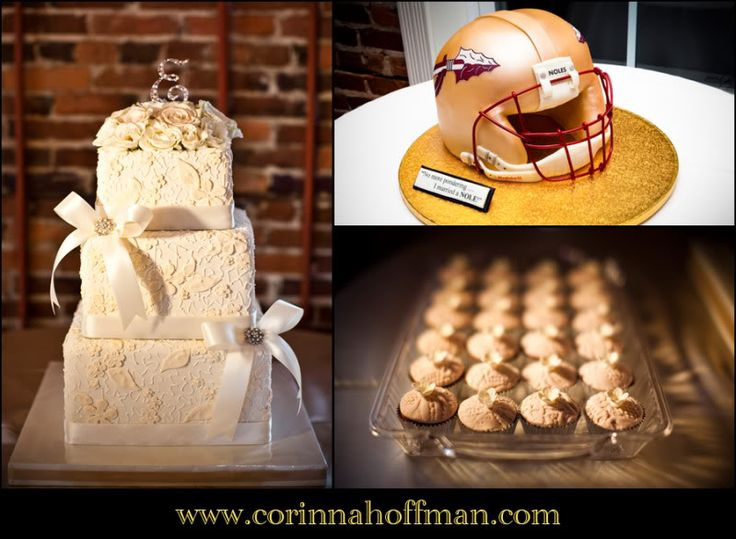 Lace Wedding Cake Cupcakes And Football Grooms