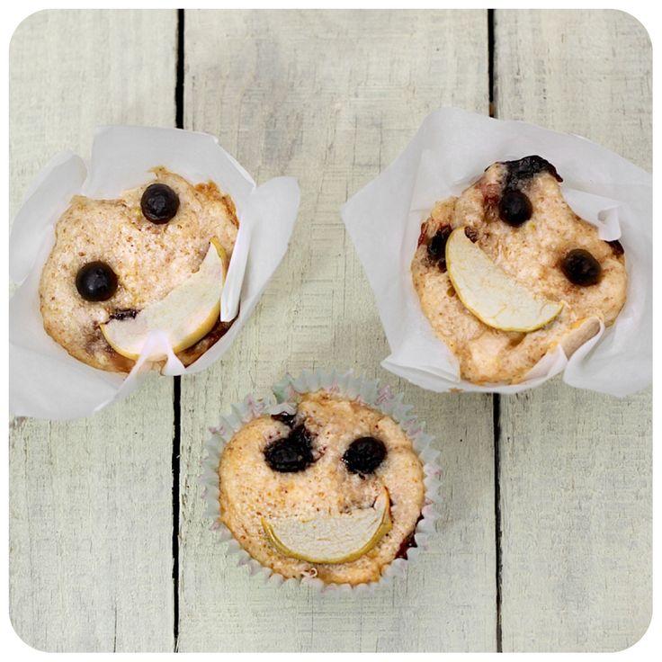 Muffins Veganos de mirtilo e maçã verde   Vídeos e Receitas de Sobremesas
