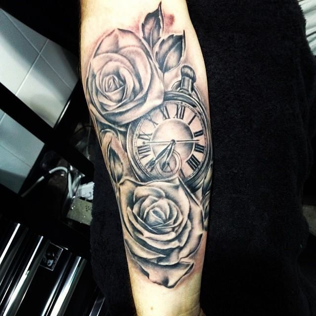 Rose pocketwatch tattoo blackandgrey Tattoos I Love Pinterest