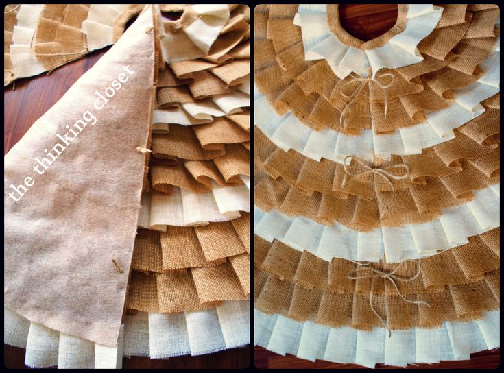 D I Y No Sew Ruffle Christmas Tree Skirt By The Thinking