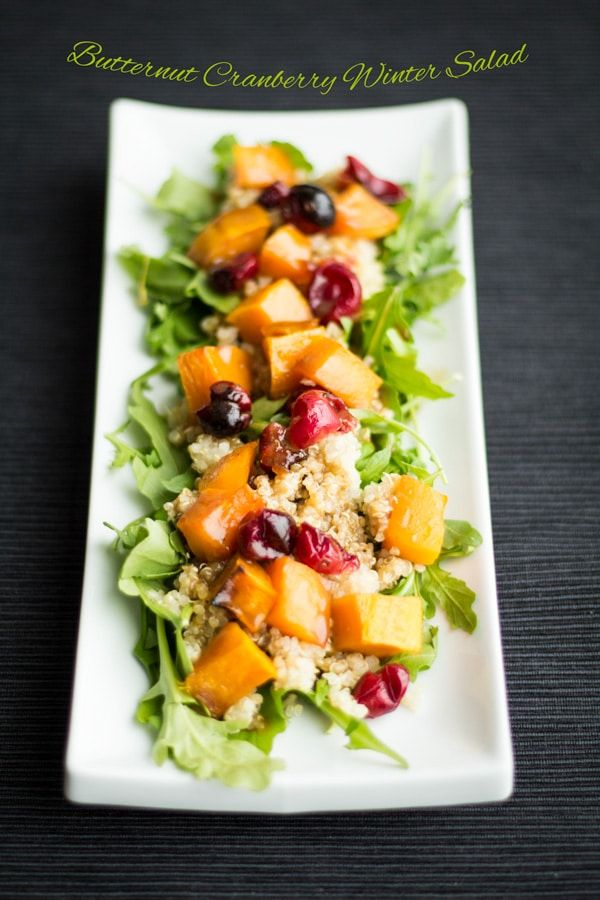 Vegan Butternut Cranberry Winter Salad recipe that will nourish your body and warm your heart. Squash, Cranberries and Quinoa will boost your immune system!