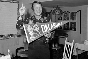 Barry Switzer head football coach for OU  1973- 1988. He has one of the highest winning percentages of any college football coach in history, and is one of only two head coaches to win both a college football national championship and a Super Bowl, the other being Jimmy Johnson.