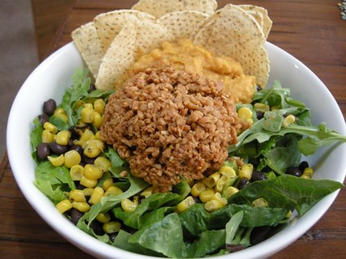 Vegan Taco Salad, combine a little starch and protein with the veggies, happyherbivore.com