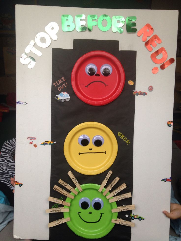 """Stop light for behavior with clothes pins. """"Stop before red"""" time out chart."""