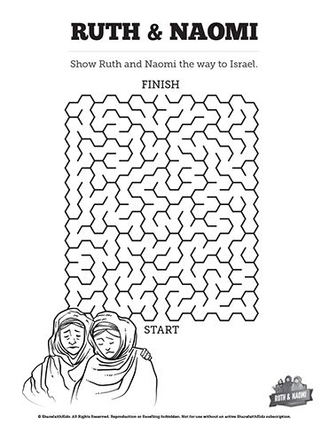 Ruth and Naomi Bible Mazes: Can your kids find their way