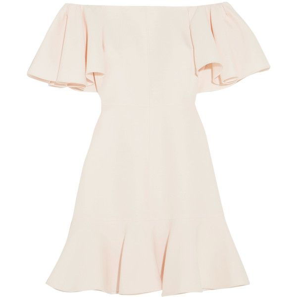 Valentino Off-the-shoulder wool and silk-blend crepe mini dress (28.090 ARS) ❤ liked on Polyvore featuring dresses, vestidos, robe, day dresses, ivory, off shoulder dress, short ivory dress, wool dress, loose dress and couture dresses