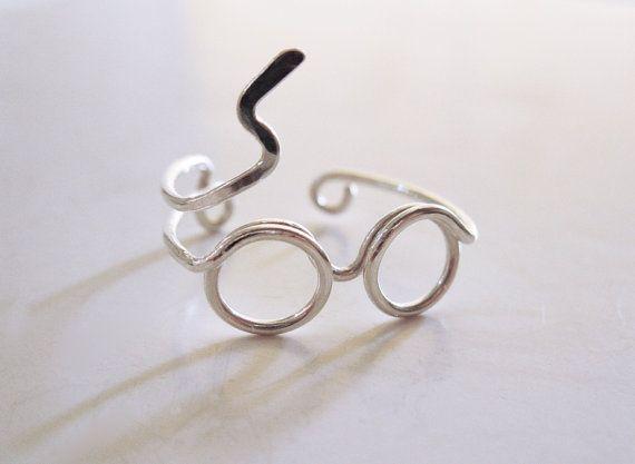 Harry Potter Ring Ring van de bril Zilveren Ring door LiuRokSilver