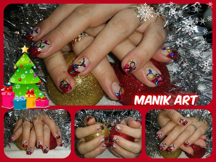 #christmas #noel #red #rouge #light #lumière #nails #nailart #design #original