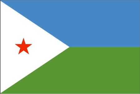 The Djibouti flag was officially adopted on June 27, 1977, after gaining its independence from France. Blue is symbolic of the Issa people, green the Afar people, and the red star in the white triangle represents unity.