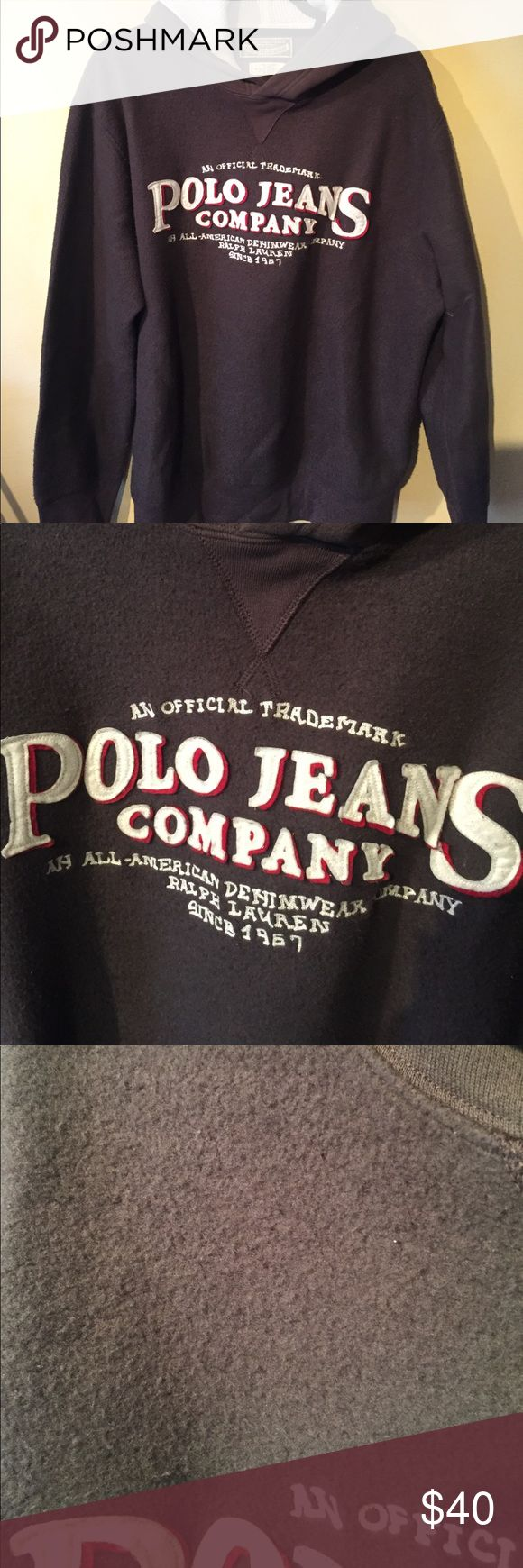 Polo jeans company sweatshirt Very soft fuzzy brown pullover sweatshirt with hood - polo jeans company logo on front - no pockets - hood has waffle material lining Polo by Ralph Lauren Shirts Sweatshirts & Hoodies