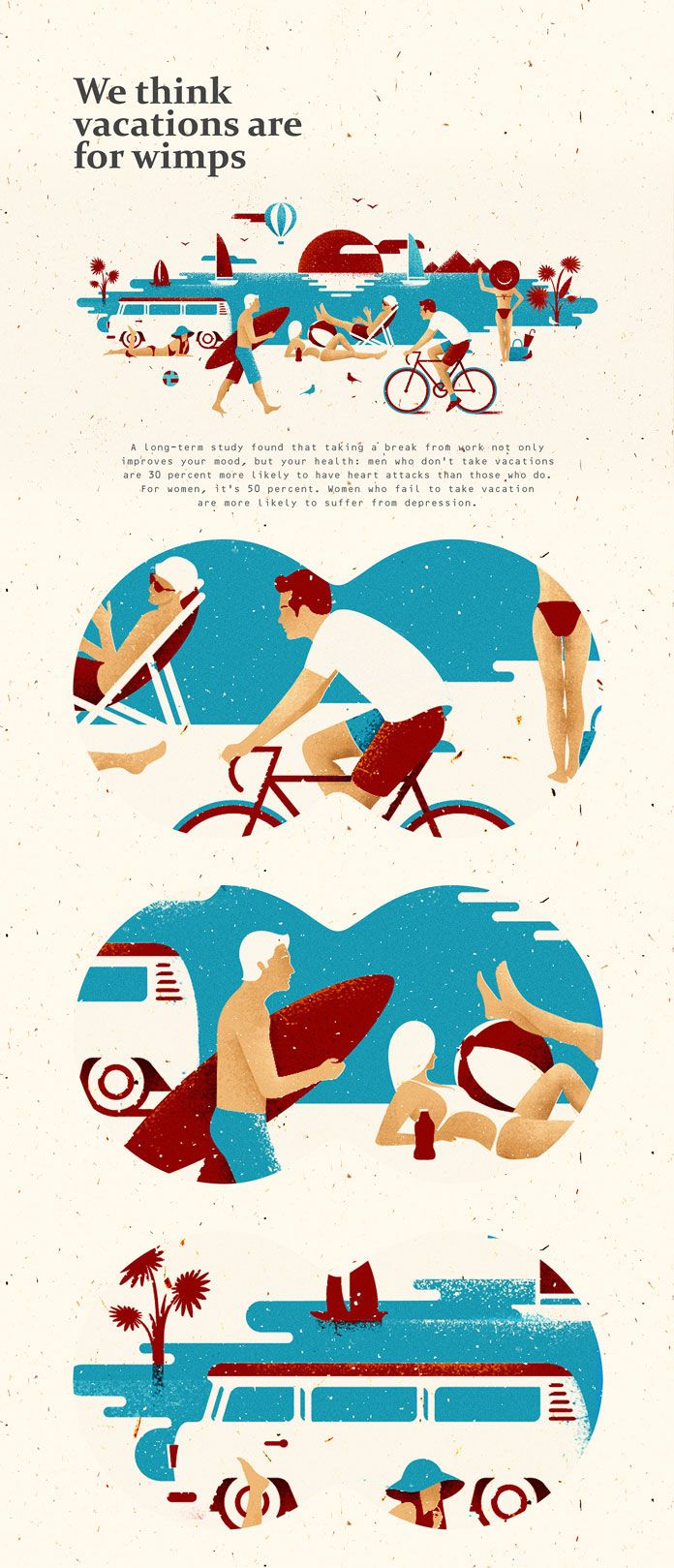 Not these colors but the types activities and style and detail of figures.  (Beach illustrations | Editorial illustrations by Andriy Muzichka)