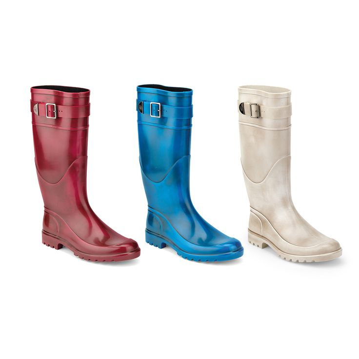 PVC Wellington boots with antique finish effect