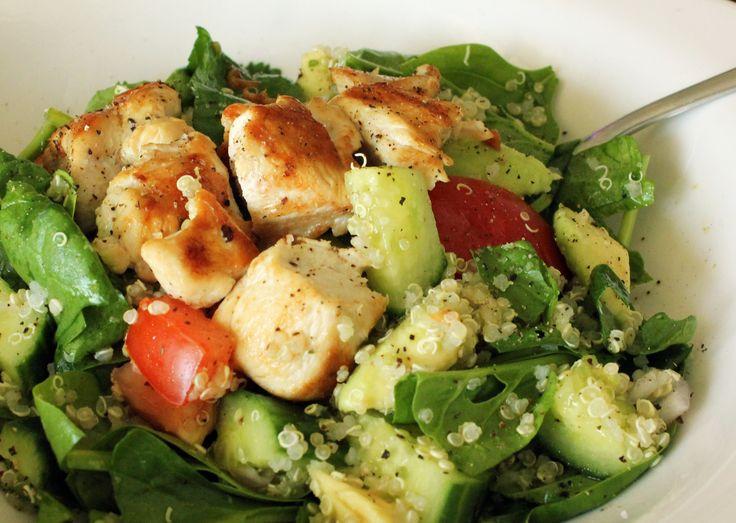 Chicken Quinoa Salad- chicken, quinoa, spinach, tomato, cucumber, avocado, shallots, garlic, lemon, olive oil, sea salt