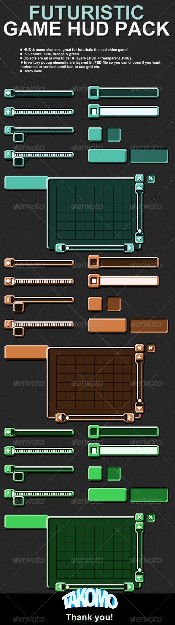 Futuristic Game HUD/Menu Pack Mobile Game User Interface Template PSD, Transparent PNG. Download here: http://graphicriver.net/item/futuristic-game-hudmenu-pack/3822761?s_rank=306&ref=yinkira