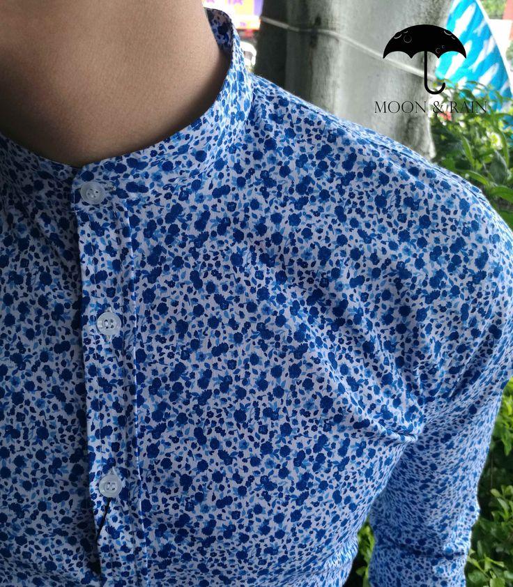Camisa Flores Azules   Slim Fit   Moon & Rain - Tiendas Platino   Envíos todo Mundo Gratis!!