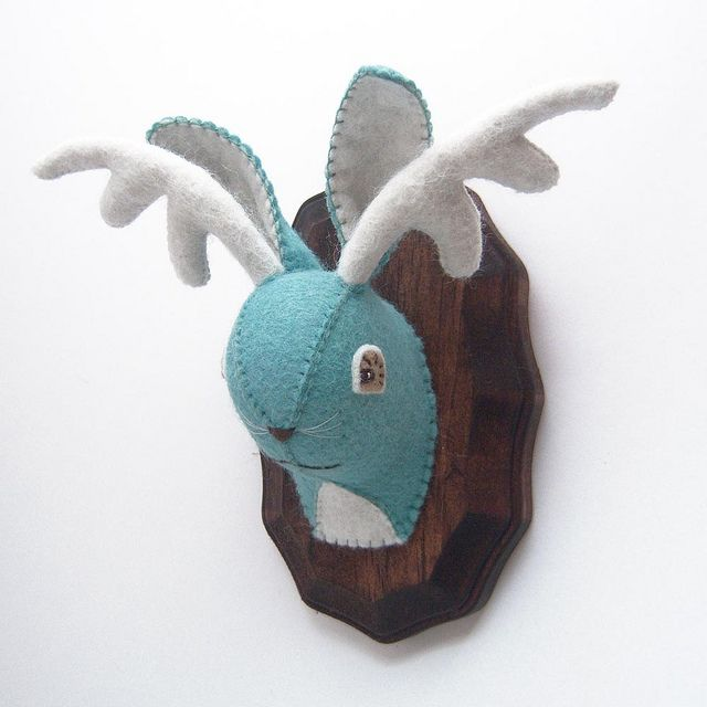 Jackalope Faux Taxidermy Plush.    Wouldn't this be a cute idea for a baby room? Plush animals on the wall! Cute little hunting baby :)