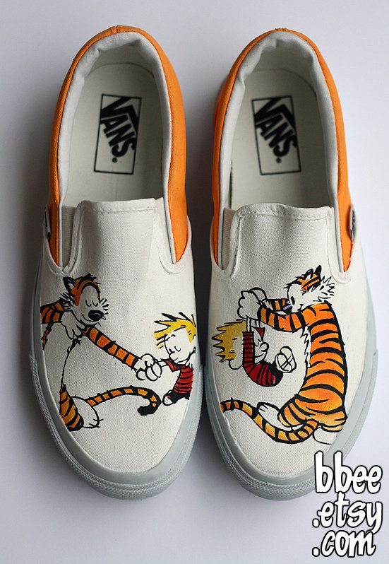 Cool Calvin and Hobbes Vans. Love this. Hate the Calvin peeing on [fill in the blank] thing.