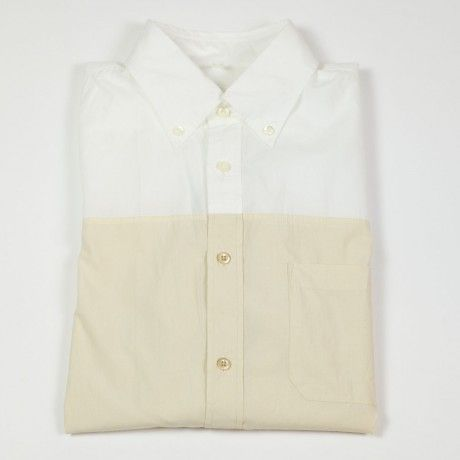 White and ecru color blocked cotton button-down shirt