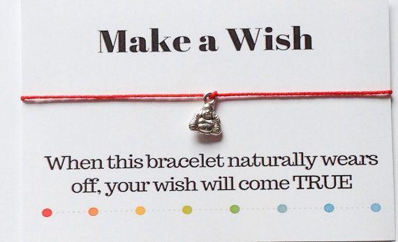 Make a Wish Buddha Bracelet, Yoga Bracelet, Kaballah Bracelet,  Minimalist Modern Stack Bracelet, Red Cord Bracelet, Adjustable Size