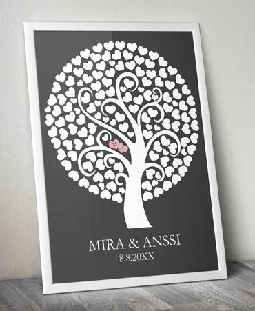Vieraskirjapuu, harmaa. Anna vieraiden kirjoittaa nimensä puun lehdille. http://www.nowandforever.fi/