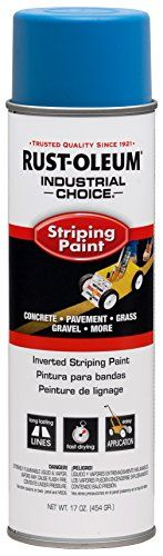 Rust-Oleum 263446 Industrial Choice Inverted Striping 18 oz Spray Paint, Dark Blue/Blue  Use to stripe and create lines for parking lots, Warehouse aisles, pallet positions, lift truck routes and more  Solvent-based formula creates lines and markings that provide long-term resistance against weather and wear  Allows for quick project completion, dries in under 10 minutes and covers up to 150 linear feet at 4 in wide  Use in conjunction with Rust-Oleum striping wand or striping machine ...