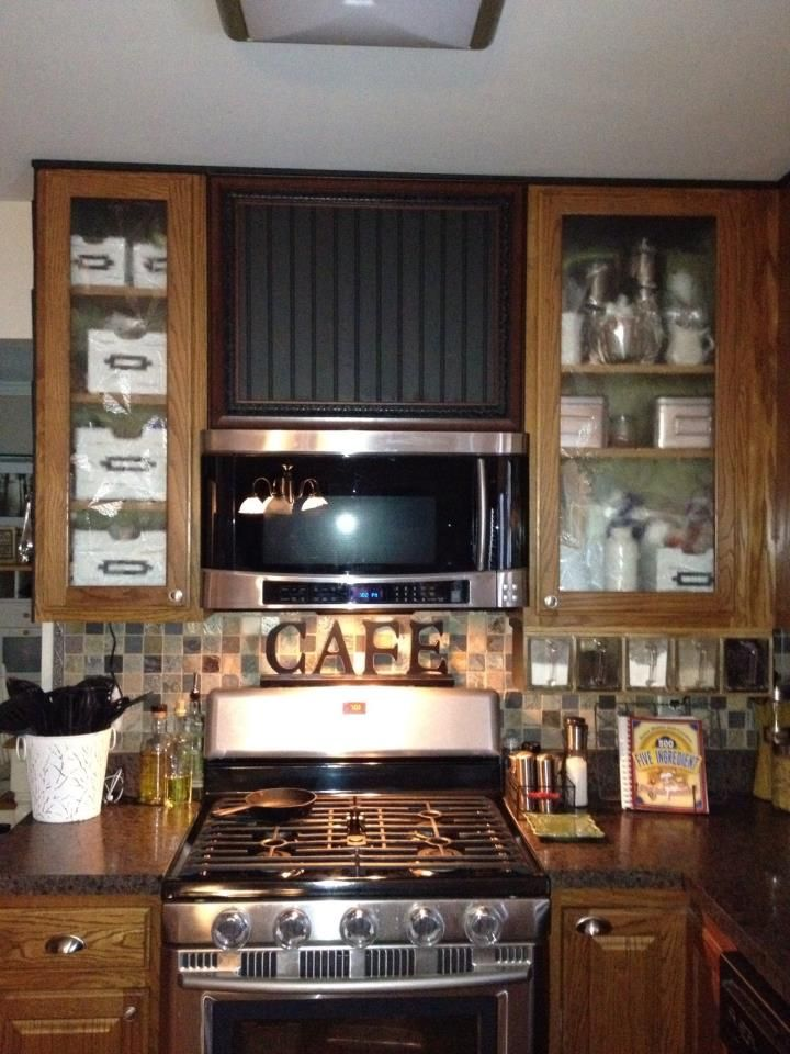 Original Inspiration Faux Range Hood Which I Could Not Do Over A Top Vent Microwave Made New