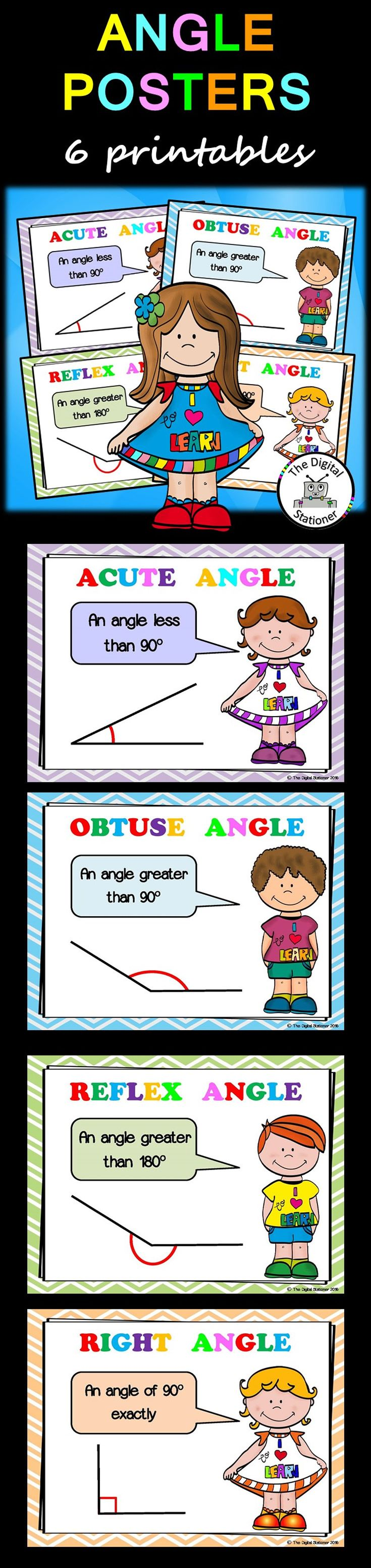 $1 - Angles - 6 posters - Maths. Numeracy, displays, revision, guidance, printables, no prep