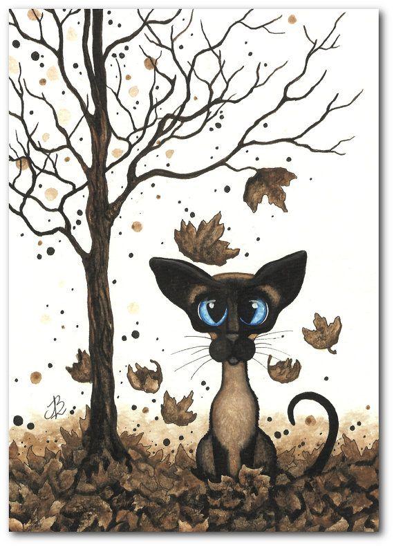 Siamese Cat Brown Falling Leaves Autumn Pet ArT  by AmyLynBihrle, $20.00