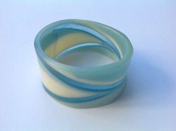 Duckegg blue resin bangle bracelet by BBsARtandDesign on Etsy