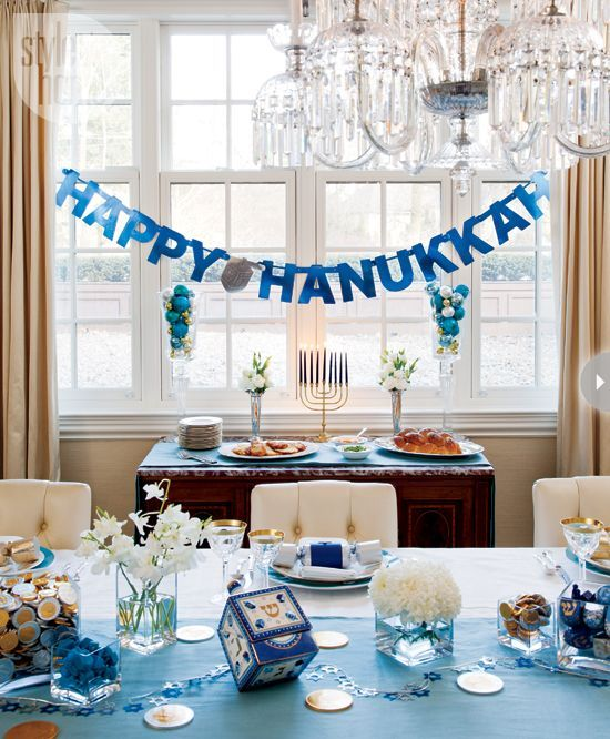 Classic blues and rich metallics create a stunning decor scheme for the celebration of Hanukkah.