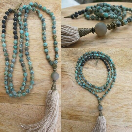 African Turquoise and lava with beige tassel, malabead necklace. Malabead Yogi.