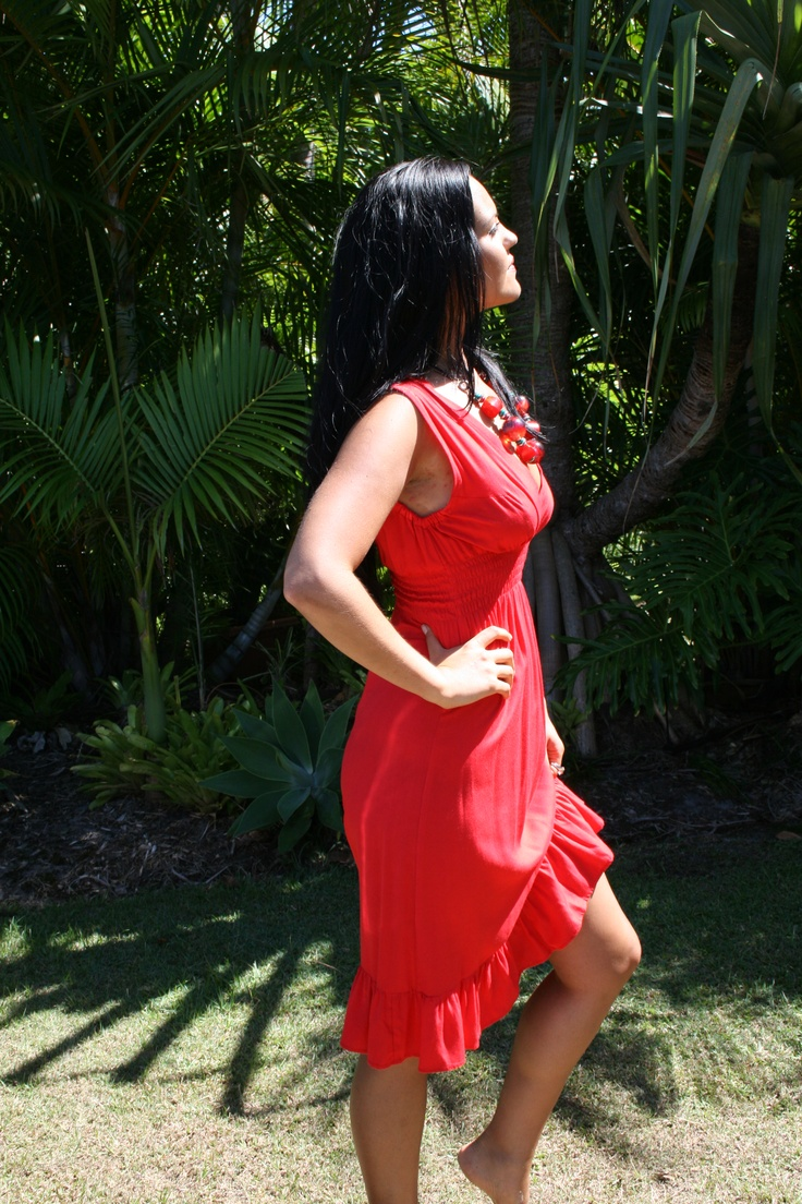 "www.ladywatego.com  Fabulous in Red....Lady WATEGO,Byron Bay ""Lennox"" frill dress has a sexy low cut neckline that contrasts with it's conservative length...$39.99"