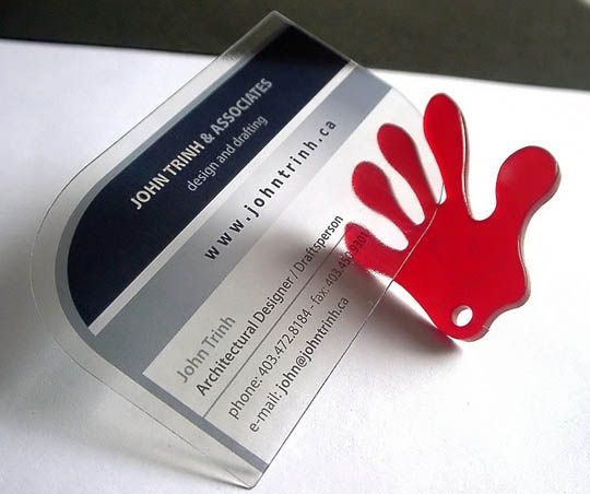 10.transparent and waterproof business cards