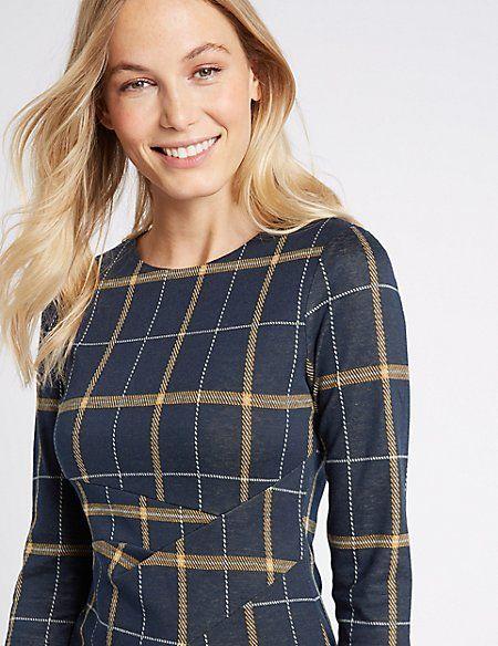 Cotton Blend Checked Twist Side Pencil Dress