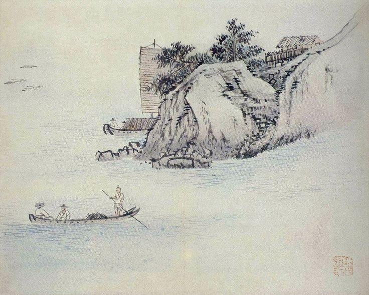 Genre Painting by Kim Hong-do, 선유도. 지본담채, 32 x 42cm, 평양 조선미술관.