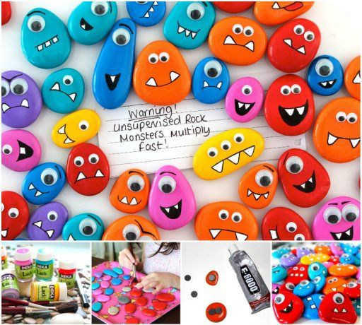 DIY Rock Monster Pebble Magnets -->…