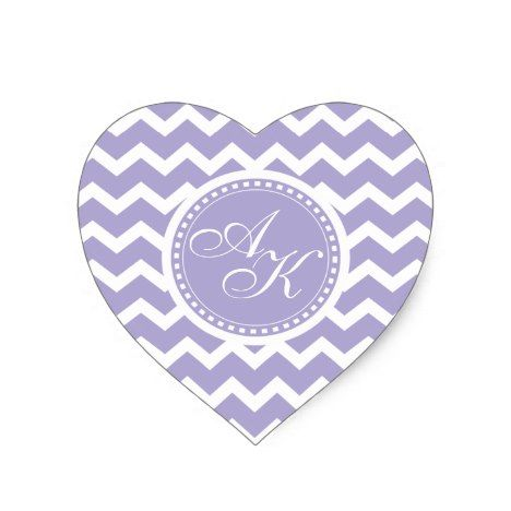Chevron Monogram Retro Purple and White Heart Sticker #chevron #craft #supplies