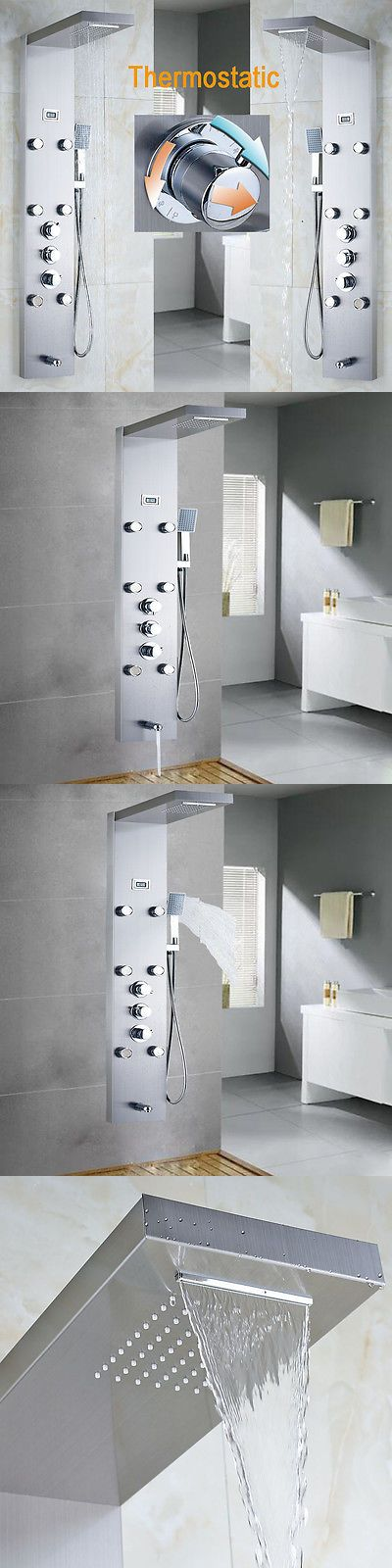 Shower Panels and Massagers 121849: Thermostatic Brushed Nickel Shower Tower Panel Massage Systerm With Body Jets -> BUY IT NOW ONLY: $149 on eBay!