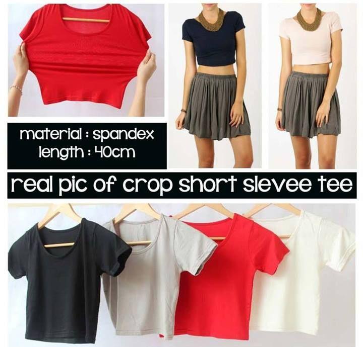 M-Gambar Asli Crop top Short Sleeve