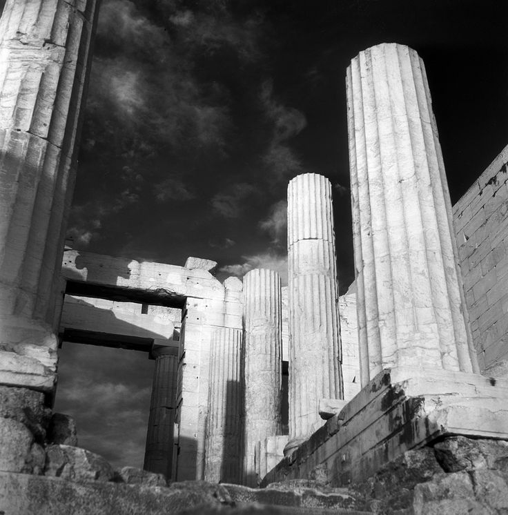 Athens, Greece May 1959  the Parthenon (infrared film)  set includes infrared photographs of landscapes in eastern switzerland, and the parthenon in athens, greece. from nick and maggie's spring 1959 trip to europe.  part of an archival project, featuring the photographs of Nick Dewolf